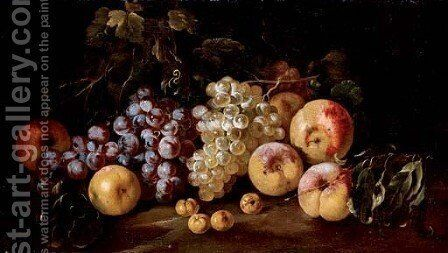 Grapes, peaches and apricots on the ground by Michele Pace Del (Michelangelo di) Campidoglio - Reproduction Oil Painting