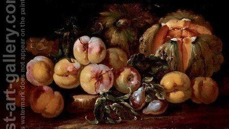 Squash, peaches, plums and grapes on a stone by Michele Pace Del (Michelangelo di) Campidoglio - Reproduction Oil Painting