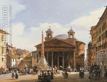 The Pantheon, Rome by Guiseppe Canella - Reproduction Oil Painting