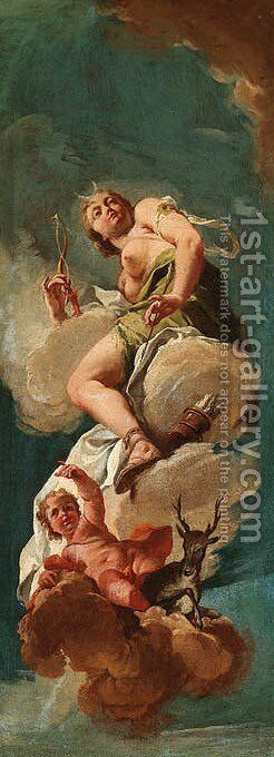 Diana the Huntress modelli by Giovanni Battista Pittoni the younger - Reproduction Oil Painting