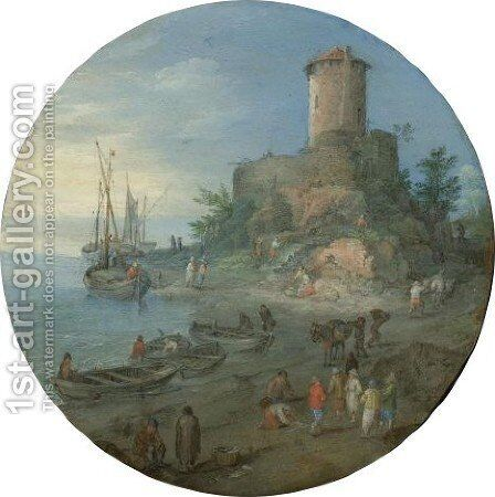 A Coastal Landscape With A Capriccio Of The Tomb Of The Scipii by Jan, the Younger Brueghel - Reproduction Oil Painting