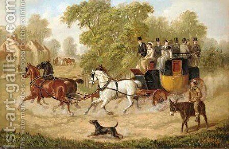 The London-to-St. Albans Coach by Edward Benjamin Herberte - Reproduction Oil Painting