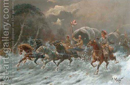Cossacks on horseback in full gallop 2 by Constantin Stoiloff - Reproduction Oil Painting