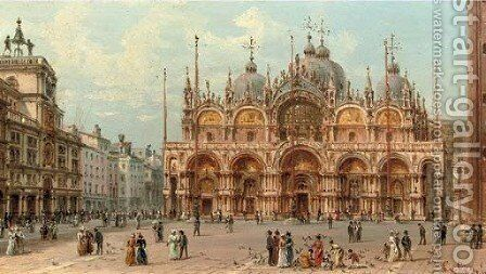 An elegant company in front of the Palazzo Ducale, Venice by Giovanni Grubacs - Reproduction Oil Painting