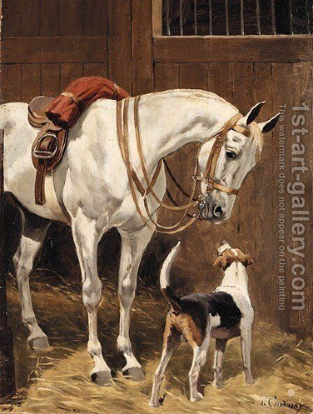 Grey with Hound in stable 2 by Charles Fernand de Condamy - Reproduction Oil Painting