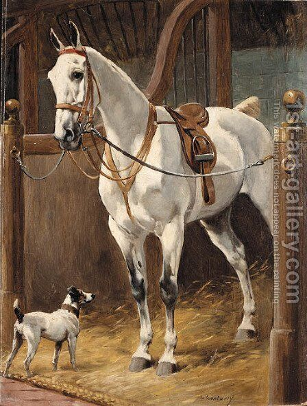 Grey with Hound in stable by Charles Fernand de Condamy - Reproduction Oil Painting