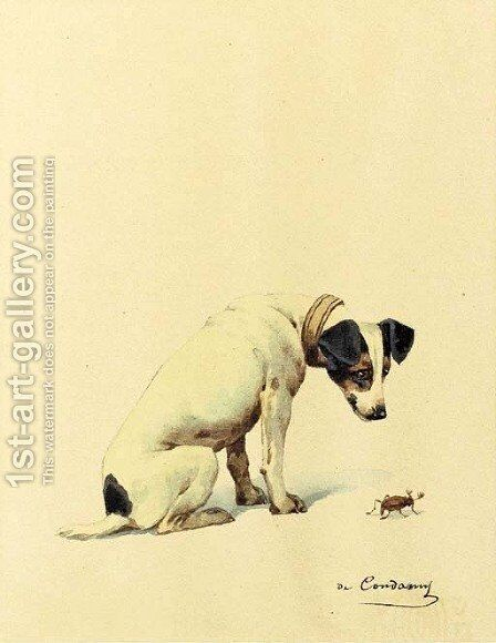 Jack Russell Terrier with insect by Charles Fernand de Condamy - Reproduction Oil Painting