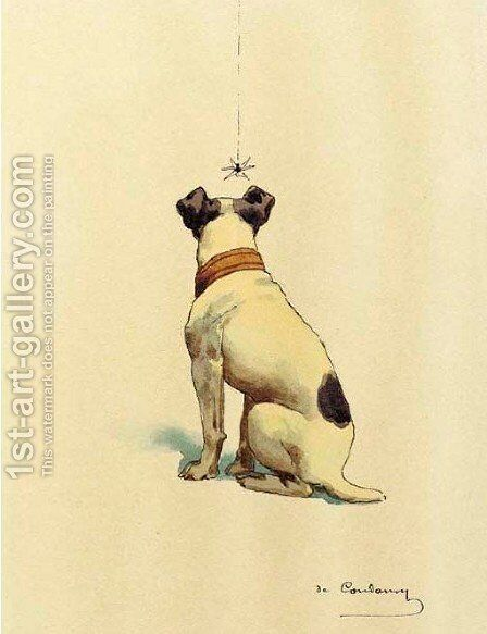 Jack Russell Terrier with insect 2 by Charles Fernand de Condamy - Reproduction Oil Painting