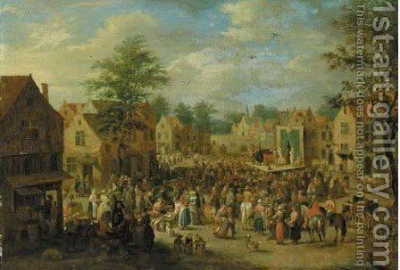 Strolling players performing to a crowd by Theobald Michau - Reproduction Oil Painting