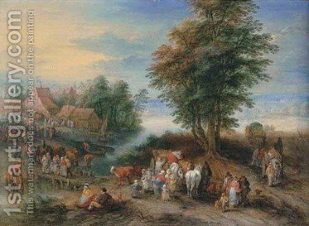 A river landscape with peasants unloading a cart by Theobald Michau - Reproduction Oil Painting