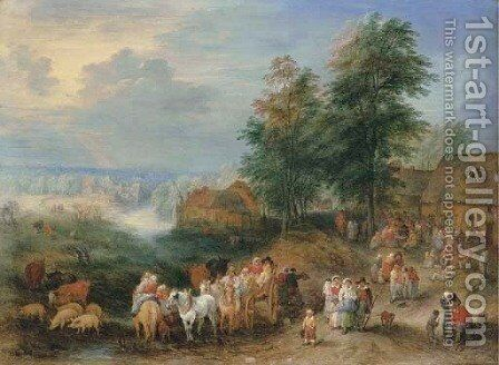 A village landscape with peasants merrymaking outside an inn and fording the river on a cart by Theobald Michau - Reproduction Oil Painting
