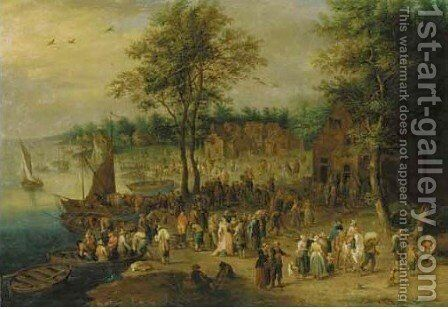 Elegant figures and peasants by a river by Theobald Michau - Reproduction Oil Painting