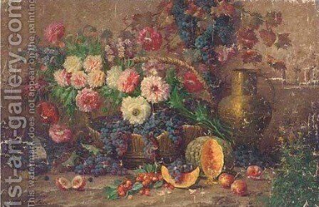 Summer blooms and grapes in a basket by peaches, cherries, a pumpkin by Max Carlier - Reproduction Oil Painting