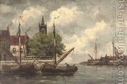 In the harbour, evening by Jan van Vlaardingen Couver - Reproduction Oil Painting