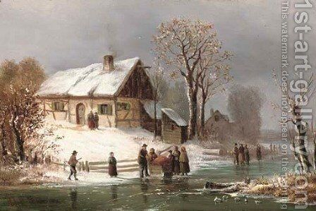 Villagers in snowcovered landscape by Anton Doll - Reproduction Oil Painting
