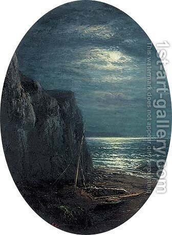A fishing boat in a cove by moonlight by Alfred Glendening - Reproduction Oil Painting