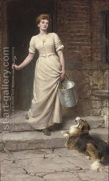 The most devoted of her slaves by Briton Rivière - Reproduction Oil Painting