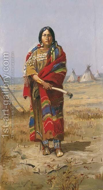 Indian Squaw by Charles Marion Russell - Reproduction Oil Painting