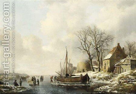 A winter river landscape by Andreas Schelfhout - Reproduction Oil Painting