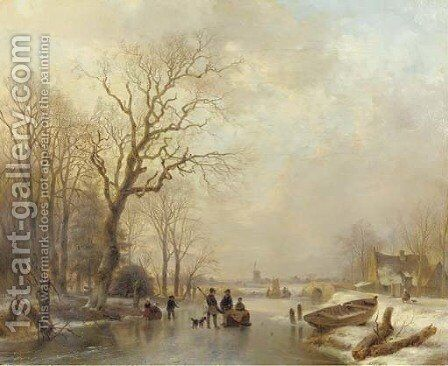 An extensive sunlit winter landscape with a huntsman conversing with villagers on the ice by Andreas Schelfhout - Reproduction Oil Painting