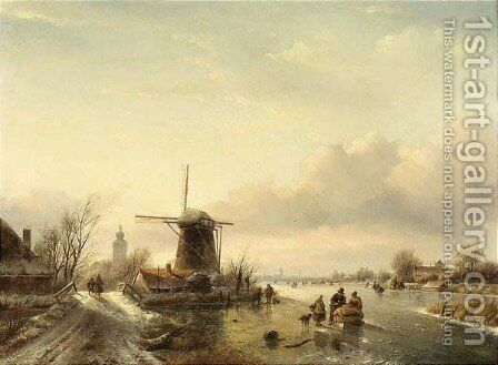 Skaters On A Frozen River Near Overschie by Jan Jacob Coenraad Spohler - Reproduction Oil Painting
