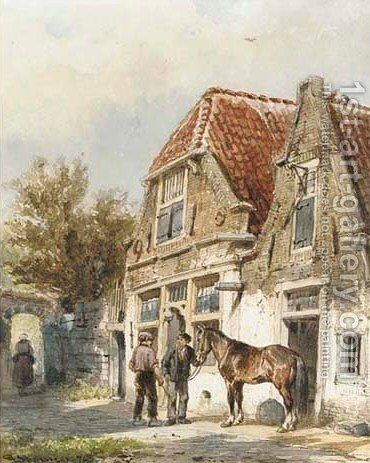 Grooms with a horse by Cornelis Springer - Reproduction Oil Painting