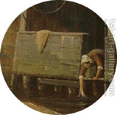 Daily activities in a Dutch town (detail) by Cornelis Springer - Reproduction Oil Painting