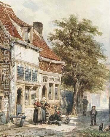 Washerwomen in a village street by Cornelis Springer - Reproduction Oil Painting