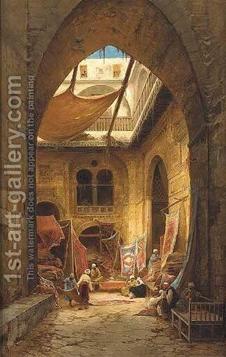 The carpet merchants by Hermann David Solomon Corrodi - Reproduction Oil Painting