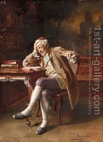 An Old Man Reading 2 by Johann Hamza - Reproduction Oil Painting