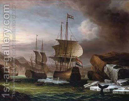 Battleships moored in a cove by James Hardy Jnr - Reproduction Oil Painting
