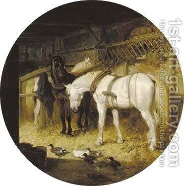 Harnessed plough-horses and ducks in a barn by John Frederick Herring Snr - Reproduction Oil Painting