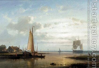 Calm Waters At Sunset by Abraham Hulk Snr - Reproduction Oil Painting