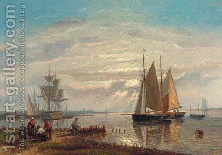 Barges in a stiff breeze by Abraham Hulk Snr - Reproduction Oil Painting