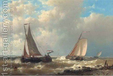 Fishing boats on the Scheldt 2 by Abraham Hulk Snr - Reproduction Oil Painting