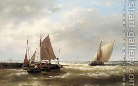 Shipping Off A Harbour by Abraham Hulk Snr - Reproduction Oil Painting