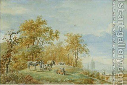 A Summer Landscape With Cattle by Barend Cornelis Koekkoek - Reproduction Oil Painting