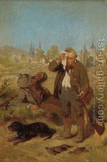 A rest on the hunt by Hugo Kauffmann - Reproduction Oil Painting