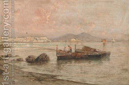 Fishermen in the Bay of Naples by Giuseppe Carelli - Reproduction Oil Painting