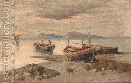 Bringing in the catch, Capri by Giuseppe Carelli - Reproduction Oil Painting