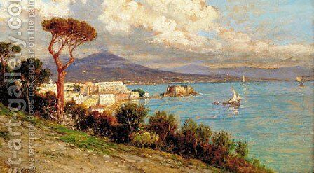 A vista of the Posillipo by Giuseppe Carelli - Reproduction Oil Painting
