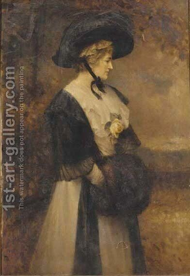 Portrait of a lady, in a white dress and black shawl and hat by Edward Hughes - Reproduction Oil Painting