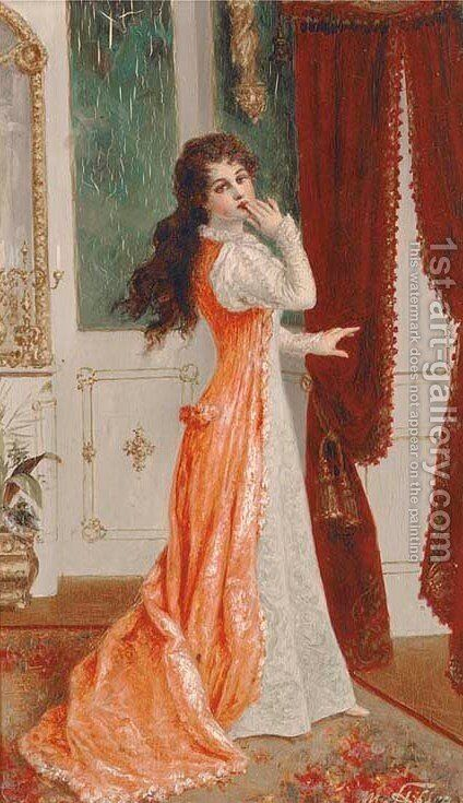 Elegant women in interior 2 by Moritz Stifter - Reproduction Oil Painting