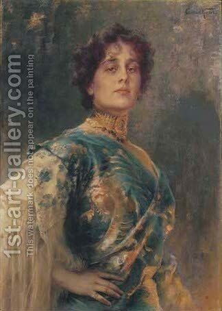 A portrait of Lola Montez by Conrad Kiesel - Reproduction Oil Painting