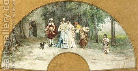 A chance meeting with a fortune teller by Alexandre Louis Leloir - Reproduction Oil Painting