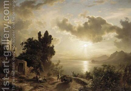 Italian Coastal Scene At Sunset by August Wilhelm Leu - Reproduction Oil Painting