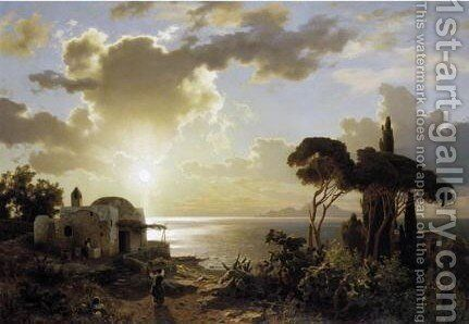 Italian Coastal Scene At Sunset 2 by August Wilhelm Leu - Reproduction Oil Painting