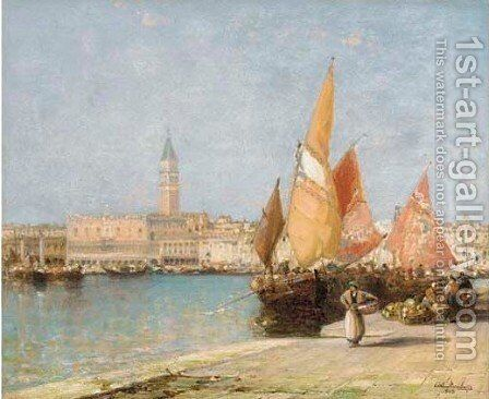The Doge's Palace and Campanile, Venice by Arthur Joseph Meadows - Reproduction Oil Painting