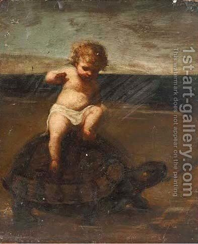 A cherub on a tortoise by Dorothy Tennant - Reproduction Oil Painting