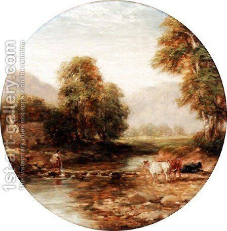 Stepping Stones 2 by David Cox - Reproduction Oil Painting
